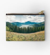 panorama of mountain and foggy valley Studio Pouch
