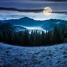 panorama of mountain and foggy valley at night by mike-pellinni