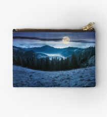 panorama of mountain and foggy valley at night Studio Pouch