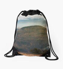 gloomy november scenery in mountains Drawstring Bag