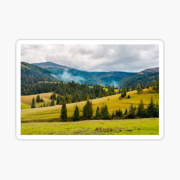 overcast autumn day in mountains Sticker
