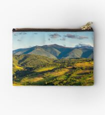 panorama of mountainous rural area in autumn Studio Pouch