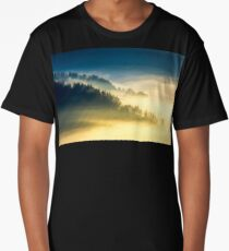 deep fog above the valley at sunrise Long T-Shirt