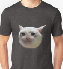 weinende weiße Katze Slim Fit T-Shirt