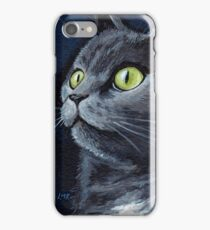 Old Smokey - Green Eyes Grey Cat iPhone Case/Skin