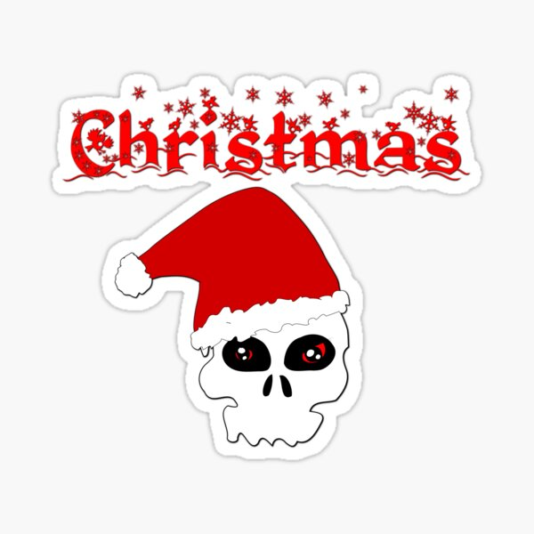 Christmas Skull Sticker