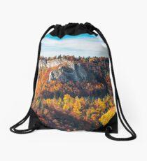 panorama of Pietrele Negre rock formation in Arieseni Drawstring Bag