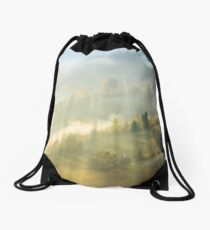 beautiful nature scene in fog Drawstring Bag