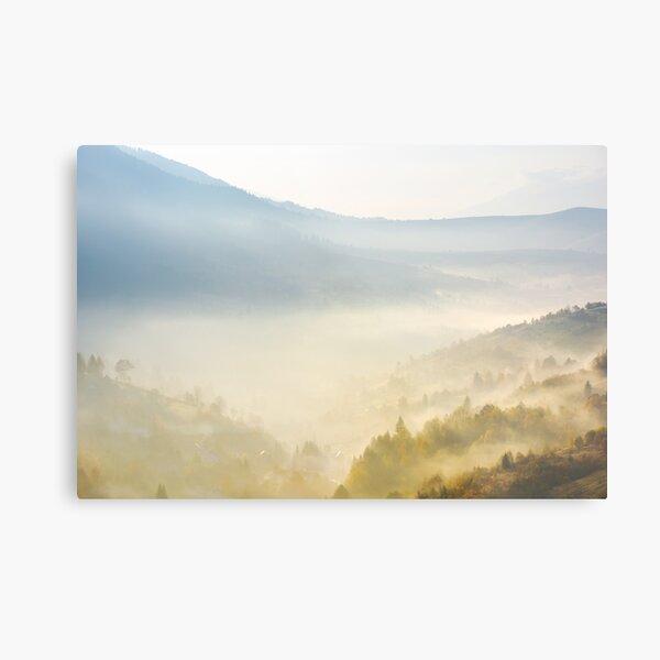 valley in fog at sunrise Metal Print