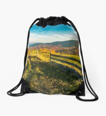 beautiful countryside at foggy autumn sunrise Drawstring Bag