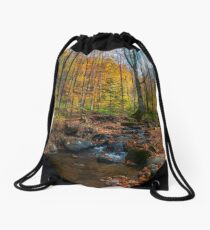 brook among stones and foliage in forest Drawstring Bag