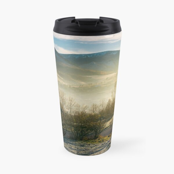 rural valley in autumn at sunrise Travel Mug