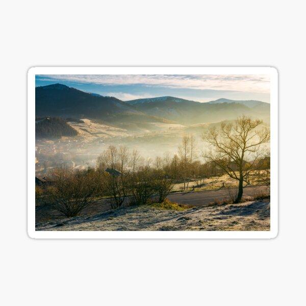 rural valley in autumn at sunrise Sticker
