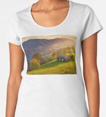 gorgeous mountainous countryside at sunrise Women's Premium T-Shirt