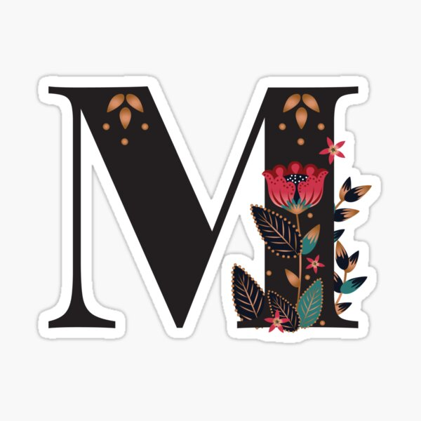 M - Floral Initial Letter Sticker