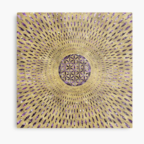 Flower of Life Amethyst and Gold Metal Print