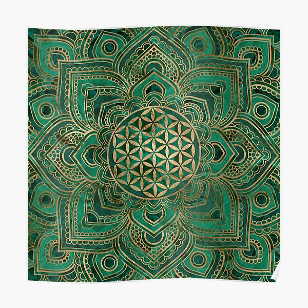 Flower of Life in Lotus - Malachite and gold Poster