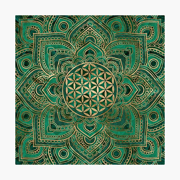 Flower of Life in Lotus - Malachite and gold Photographic Print