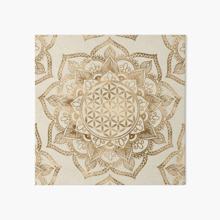 Flower of Life in Lotus - pastel golds and canvas Art Board Print