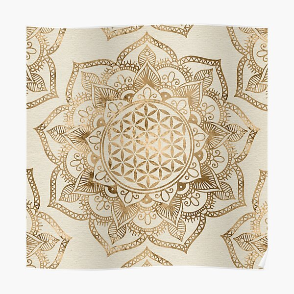 Flower of Life in Lotus - pastel golds and canvas Poster