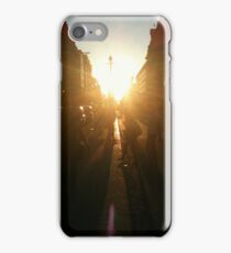 Sun setting over Oxford Street iPhone Case/Skin
