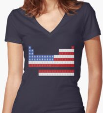 Patriotic Periodic Women's Fitted V-Neck T-Shirt