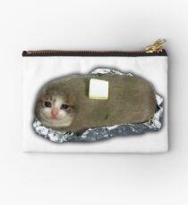 sad potato cat with butter Zipper Pouch