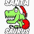 Santa Saurus Christmas Themed Dinosaur Santa Claus Mashup Design by sketchNkustom