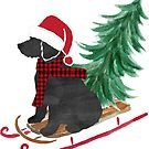 Labradoodle Christmas Sled Bringing Home The Tree by emrdesigns