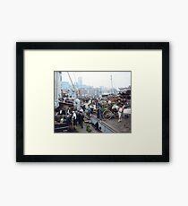 Banana docks, New York, ca. 1890-1910. Framed Print