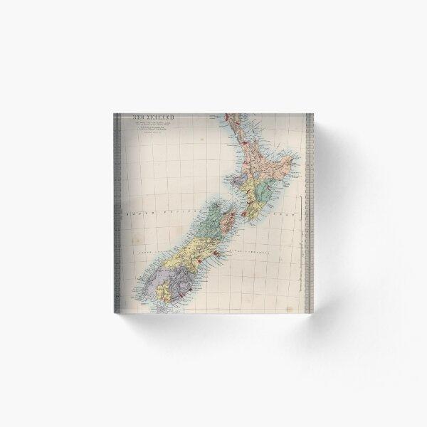 Vintage Map of New Zealand (1865) Acrylic Block