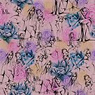 floral with ladies, pink by Lara Wolf