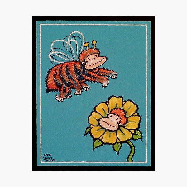 Ape Bee and Ape Flower Photographic Print