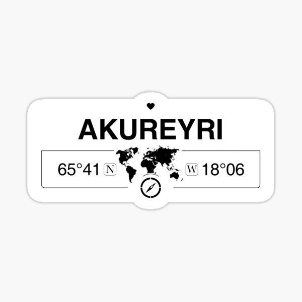 Akureyri-Nordostregion mit Weltkartenkoordinaten GPS Sticker
