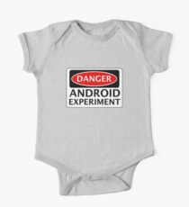 DANGER ANDROID EXPERIMENT FAKE FUNNY SAFETY SIGN SIGNAGE One Piece - Short Sleeve