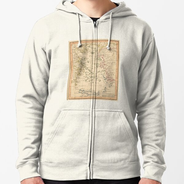 Vintage Map of The Aegean Sea (1835) Zipped Hoodie