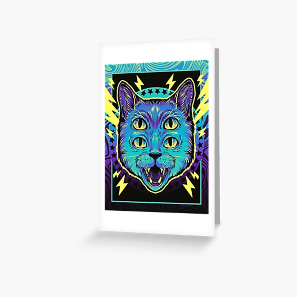 4 Eye Cat Greeting Card