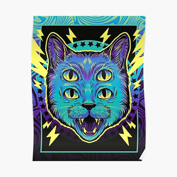 4 Eye Cat Poster