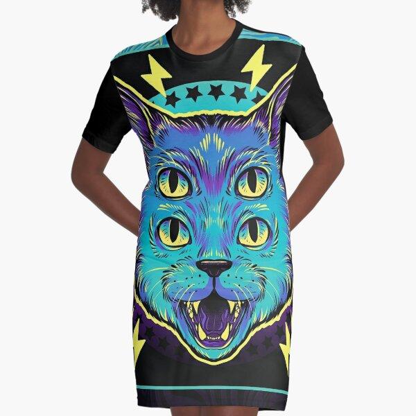 4 Eye Cat Graphic T-Shirt Dress