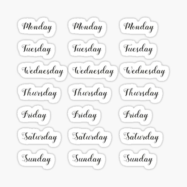 Journal Calendar Stickers Planner 2019 for Journal and Agenda - weekdays Sticker