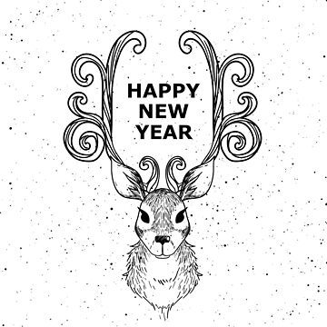 Happy New Year Reindeer And Antlers by Zehda