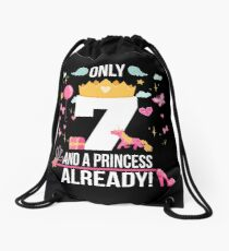 "7th Birthday Girl ""Only 7 And Already A Princess"" Gift Drawstring Bag"