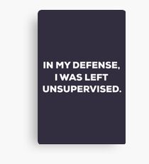 In my defense, I was left unsupervised Canvas Print