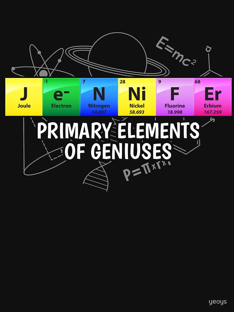 Jennifer Primary Elements Of Geniuses - Chemistry Quotes Gift von yeoys