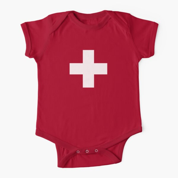 Swiss Flag Baby Onesie Jumpsuit Pyjama Clothing - Schweizer Short Sleeve Baby One-Piece