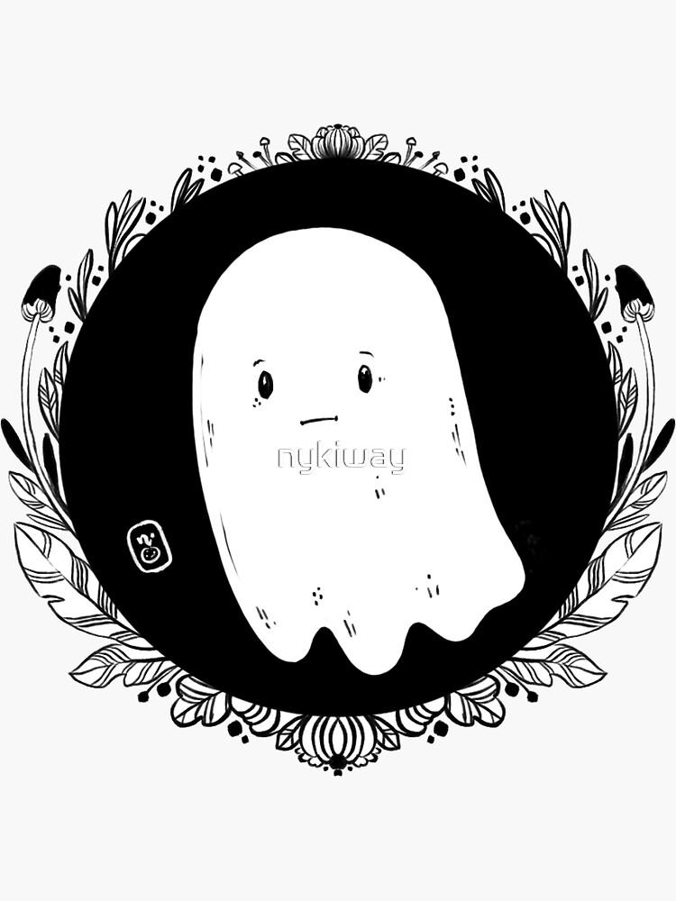 Sad Black White Little Ghost by nykiway