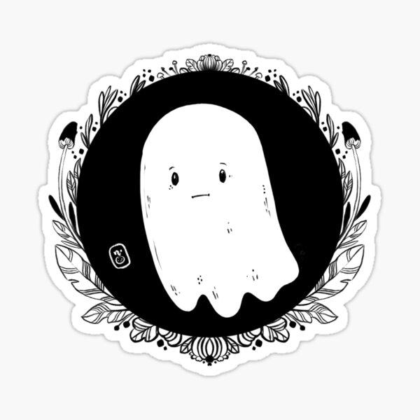 Sad Black White Little Ghost Sticker