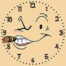 Clock 1930s' Style Squint-eyed Tough Guy with Cigar by Gerard de Souza