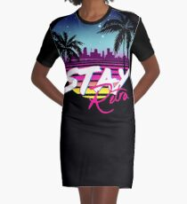 Stay Retro - Miami Vice Synthwave Nights  Graphic T-Shirt Dress