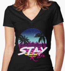 Stay Retro - Miami Vice Synthwave Nights  Women's Fitted V-Neck T-Shirt